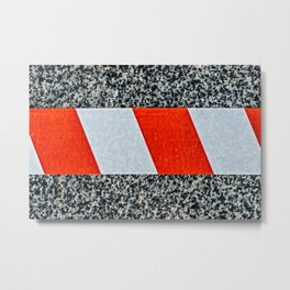 Red warning tape across granite stone Metal Print