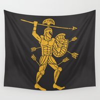 warrior Wall Tapestries featuring the warrior by Matthew Taylor Wilson