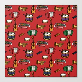 Toy Instruments on Red Canvas Print