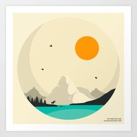jazzberry Art Prints featuring GLACIER NATIONAL PARK, Two Medicine Lake by Jazzberry Blue
