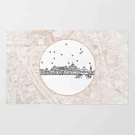 Roma (Rome), Italy, Europe City Skyline Illustration Drawing Rug