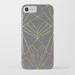 Art Deco in Gold & Grey - Large Scale iPhone Case