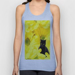 Black Cat Yellow Flowers Spring Mood #decor #society6 #buyart Unisex Tank Top