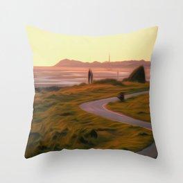 Walk along the coastal path Throw Pillow