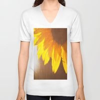 sunflower V-neck T-shirts featuring Sunflower by Maite Pons