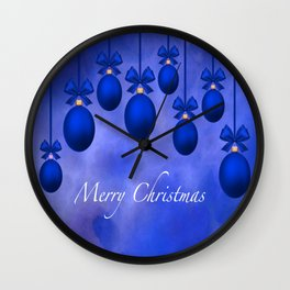 Merry Christmas Ornaments Bows and Ribbons – Blue Wall Clock