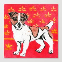 jack russell Canvas Prints featuring Jack Russell by Mandarin Duck Craft