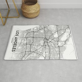 Minimal City Maps - Map Of Los Angeles, California, United States Rug
