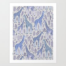 Blue Giraffe Pattern Art Print