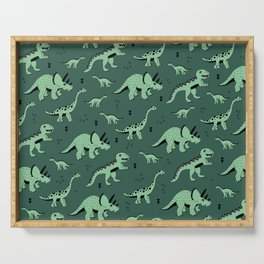 Dinosaur jungle love quirky creatures illustration Serving Tray