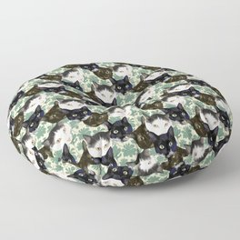 Multicolor Kitty Cats with Pachysandra Leaves Floor Pillow