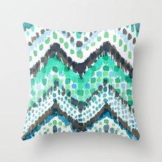 Dappled Chevron in Aqua Throw Pillow