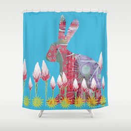 Garden Rabbit Shower Curtain