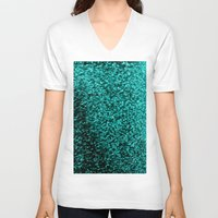 glitter V-neck T-shirts featuring Teal Glitter by Simply Chic