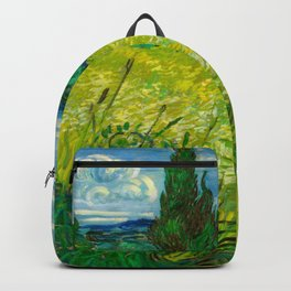 Green Wheat Field with Cypress Painting by Vincent van Gogh Backpack