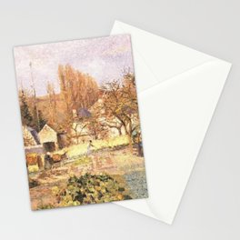 Kitchen Garden At The Hermitage Pontoise 1874 By Camille Pissarro   Reproduction   Impressionism Pai Stationery Cards