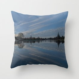 Lichfield Cathedral And The Stowe Pool Throw Pillow