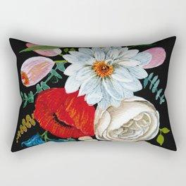 Colorful Bouquet - Gouache on Black Rectangular Pillow