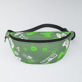 Video Games green on olive Fanny Pack