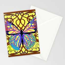 ITALIAN STYLE BROWN-YELLOW BUTTERFLY FILIGREE Stationery Cards