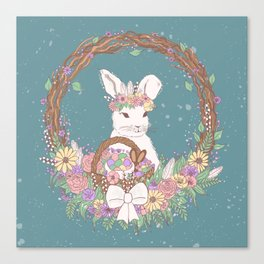 Watercolor Easter Bunny Wreath Art Canvas Print