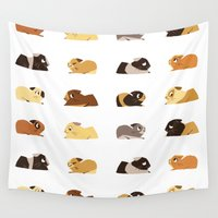 pigs Wall Tapestries featuring Guinea pigs by stephasocks