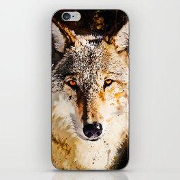 wolf splatter watercolor iPhone Skin