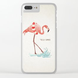 Flamingo - Hello Summer Clear iPhone Case
