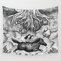 sisters Wall Tapestries featuring Sisters by Ulrika Kestere