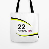 f1 Tote Bags featuring F1 Legends - Jenson Button [Brawn] by MS80 Design