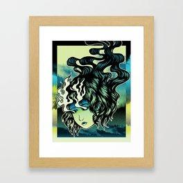 Flame Eyes Color Framed Art Print