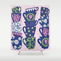 girly Shower Curtains featuring girly teacups by MollyBroadley