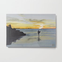 Dog Beach Surfer Metal Print