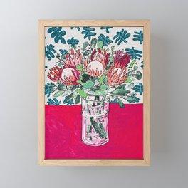 Bouquet of Proteas with Matisse Cutout Wallpaper Framed Mini Art Print
