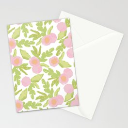 watercolor pink flowers Stationery Cards