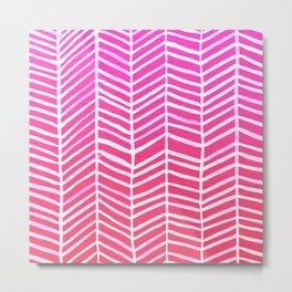 Herringbone – Pink Ombré Metal Print
