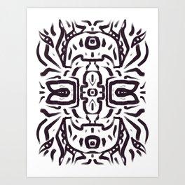 Inca God Black and White Totem Disc Mandal by Emmanuel Signorino  Art Print