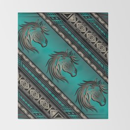 Horse Nation (Aqua) Throw Blanket