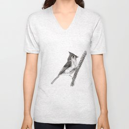 Tufted Titmouse Unisex V-Neck