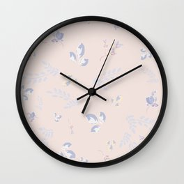 Spring watercolor leaves on peach background Wall Clock