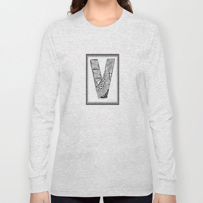 Zentangle V Monogram Alphabet Initial Long Sleeve T-shirt