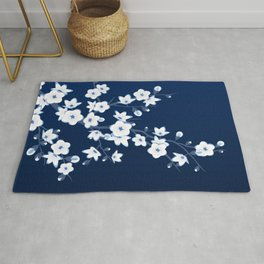 Navy Blue White Cherry Blossoms Rug