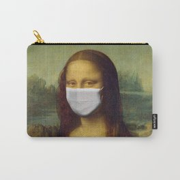 Mona Lisa with Respirator Mask Carry-All Pouch