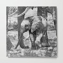 AnimalArtBW_Elephant_20170908_by_JAMColorsSpecial Metal Print