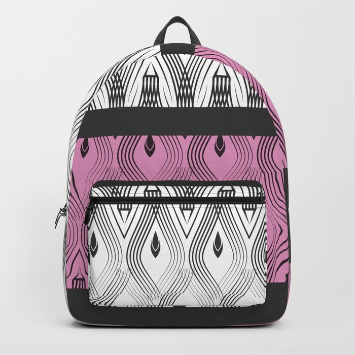 Art Deco 55 . White black and pink textures . Backpack