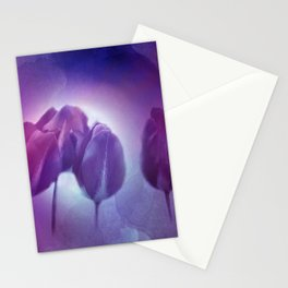 4 purple tulips on watercolor Stationery Cards