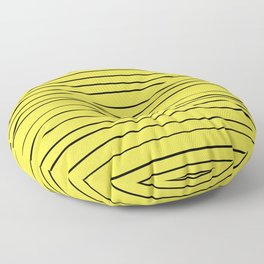 Yellow Handmade Lines Floor Pillow