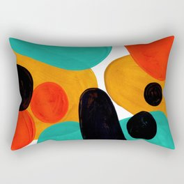 Mid Century Modern Abstract Minimalist Retro Vintage Style Rolie Polie Olie Bubbles Teal Orange Rectangular Pillow