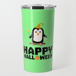 Happy Halloween Witch Penguin T-Shirt D1niv Travel Mug