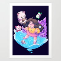 puppycat Art Prints featuring Bee and Puppycat- Dream by merrigel